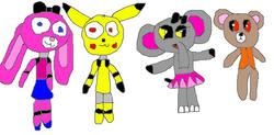 Rose the Rabbit, Spark the Pikachu, Female Elephant, Male Bear
