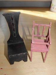 High Chair & Dark wood chair