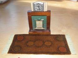 Fireplace, Rug & Clock