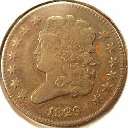 1829 Half Cent Very Fine