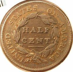 1829 Half Cent, reverse