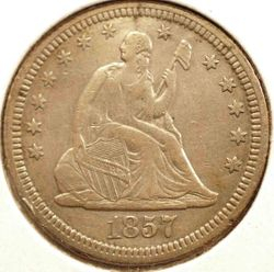 1857 Seated Quarter Obverse
