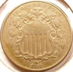 1868 Shield Nickel Obverse