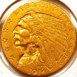 1914-D Gold Quarter Eagle Obverse