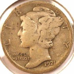 1921-D Mercury Dime Fine