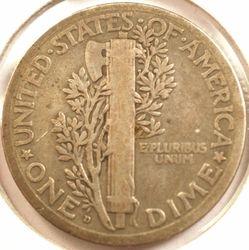 1921-D Mercury Dime, reverse