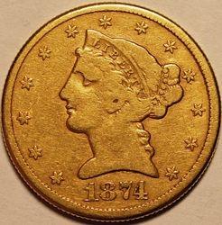 1874-CC Half Eagle Obverse