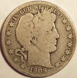 1909-S Barber Half Inverted Mintmark Obverse