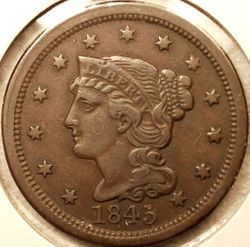 1845 Large Cent EF Obverse