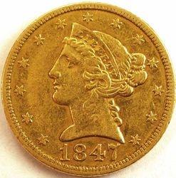 1847/7 Half Eagle, obverse