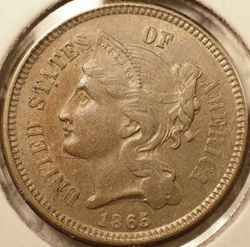 1865 3-Cent Nickel, AU (obverse)