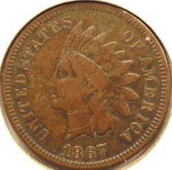 1867 Indian Head Cent Obverse