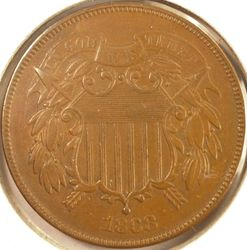1868 Two-Cent Piece AU (Obverse)
