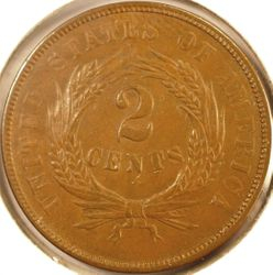 1868 Two-Cent Piece AU (Reverse)