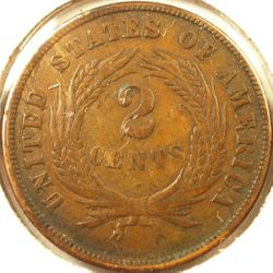 1870 Two-Cent Piece, XF Reverse