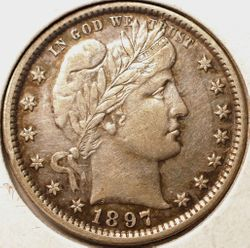 1897 Barber Quarter Obverse