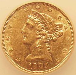 1905-S/S Half Eagle, obverse