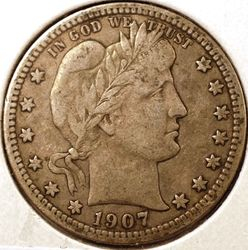 1907-S Barber Quarter VF Obverse