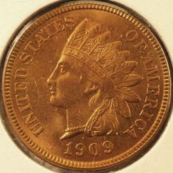 1909 Indian Head Cent, choice Mint State (obverse)