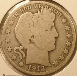 1913 Barber Half Dollar Good (obverse)