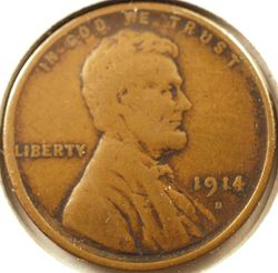 1914-D Lincoln Cent, Very Good Obverse