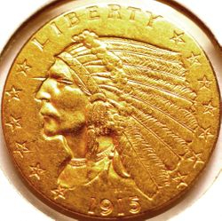 1915 Gold Indian Quarter Eagle Obverse