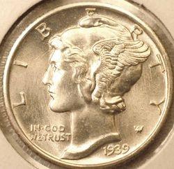 1939-D Mercury Dime, Gem BU FSB Obverse