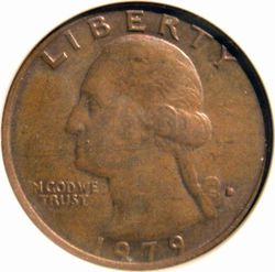 1979-D Quarter with Missing Obverse Clad Layer