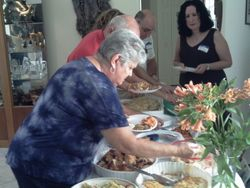 The buffet line headed by Cecile & Jerry from Boynton Beach