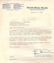 1957 Letter from  Senator Saltonstall