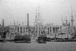 New Bedford Whaleships Dockside c1898