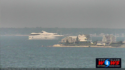 Wilbur's Point homes dwarfed by huge yacht