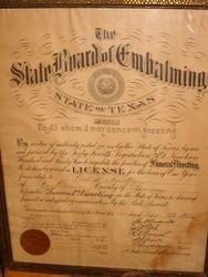 Emablming Certificate september 10 1935