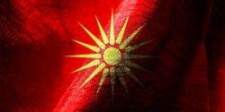 Wavy 16-Ray Macedonian Flag of Kutlesh - Se Vee Makedonskoto Zname