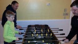 Webelos and parents joined us for some foosball!