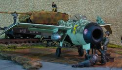 Shrunk: close-up on the fighter plane
