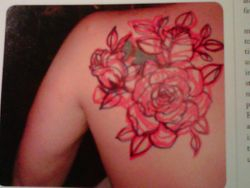 Caleb's Tattoo - sharpie sketch done by Kat Von D, to cover up his old tattoo