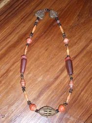 Brass, Agate and recycled magazine beads