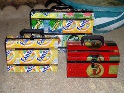 Tin boxes.
