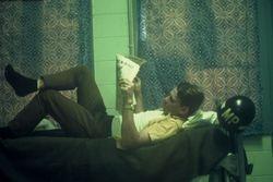 Gary Johnson reading the paper