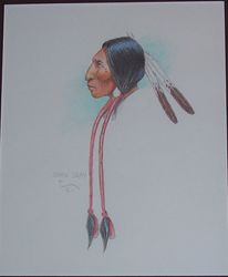 Indian in colored pencil