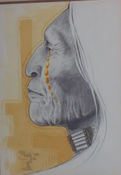 Indian in pencil & watercolor