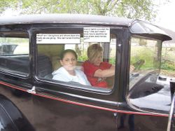 My wife and Sonny King's wife Bonnie having fun in Sonny's Model A Ford