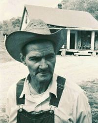 Willie York in front of his house on Big East Fork Road