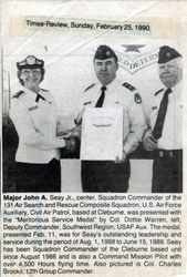 Maj. John Seay receiving and Award.