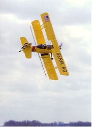 Johnny making a turn crop dusting in the Grumman Ag Cat