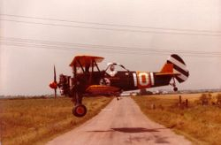 John Seay 1983 flying Stearman Crop Duster