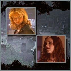 Buffy and Faith at Old Sunnydale Cemetery