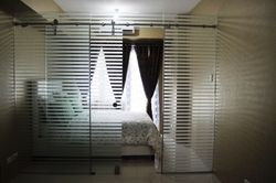 Frameless Sliding Door with Fixed Panels