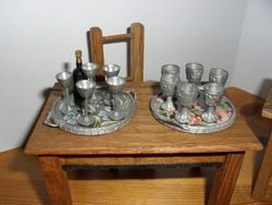German trays with goblets